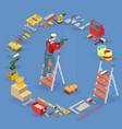 home repair service isometric interior repairs vector image