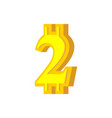 2 numeral bitcoin font two numeric crypto vector image vector image
