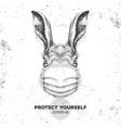 animal rabbit wearing face medical mask covid-19 vector image