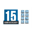 anniversary icons set birthday logo vector image vector image