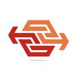 arrow symbol hexa connecting icon vector image vector image