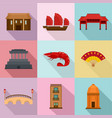 asia journalism icons set flat style vector image