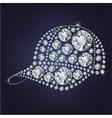Baseball cap made up a lot of diamonds vector image