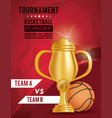 basketball sport balloon and trophy vector image vector image