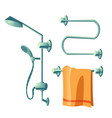 bathroom accessories shower head and towel heater vector image