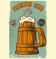 beer poster in retro style beer objects on grunge vector image vector image