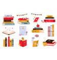 big set colorful books book stacks piles vector image