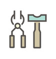 black smith tong and hammer icon vector image