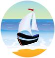 boat and beach cartoon vector image