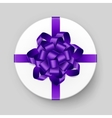 Box with Purple Violet Bow and Ribbon Top View vector image vector image