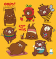 brown bear different funny emotions and activity vector image