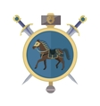 Brown Horse in Gold Circle Isolated Avatar Icon vector image vector image