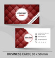 business card template with red leather texture vector image vector image
