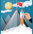 businessman hand with space rocket ship vector image