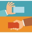 businessman hands holding id cards vector image