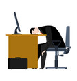 businessman tired of work head is on table vector image vector image