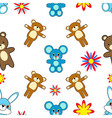 cartoon animal seamless pattern vector image vector image