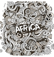 Cartoon cute doodles Africa vector image vector image