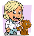 cartoon girl character with cute brown cat vector image vector image