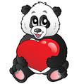cartoon panda holding red heart vector image