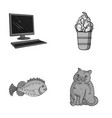 computer sea and other monochrome icon in cartoon vector image vector image