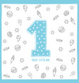 cute first birthday card blue number one vector image