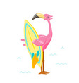cute pink flamingo with surf board on beach vector image vector image