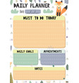 daily planner with a cute fox vector image