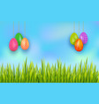 easter banner with set of colorful hanging eggs vector image vector image