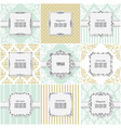 Elegant frame on pattern set vector image vector image