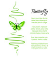 Green diamond butterfly flying up vector image vector image