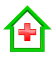 green house with a red cross inside vector image vector image