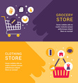 Grocery Store Clothing Store Shopping Concept Set vector image
