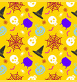 halloween seamless pattern icons of skull vector image