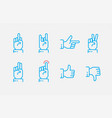 hand gestures thin line icon set touch vector image