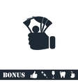 Hand holding money icon flat vector image vector image