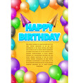 happy birthday invitation card or poster vector image vector image