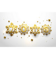 happy new year 2018 in gold snowflakes vector image