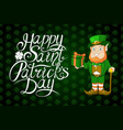 happy saint patrick day lettering irish holiday vector image