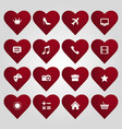 hearts set with icons vector image vector image