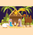 joseph and mary bajesus camel and sheep manger vector image vector image