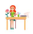 joyful girl making origami isolated vector image
