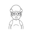 line old man with hairstyle and casual clothes vector image vector image