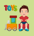 little boy playing with toys character vector image