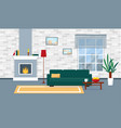 living room with fireplace in modern style vector image vector image
