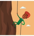 Man climbing in mountains with rope vector image vector image