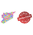 migration collage of mosaic map of syria and vector image