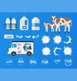 milk concept set milk bottles splashes logos vector image
