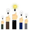 people showing finger at light bulbs vector image vector image