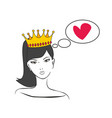 queen or princess thinking about love vector image vector image